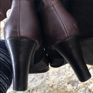 Zara Shoes - Zara Brown Leather and Suede Tall Heeled Boots